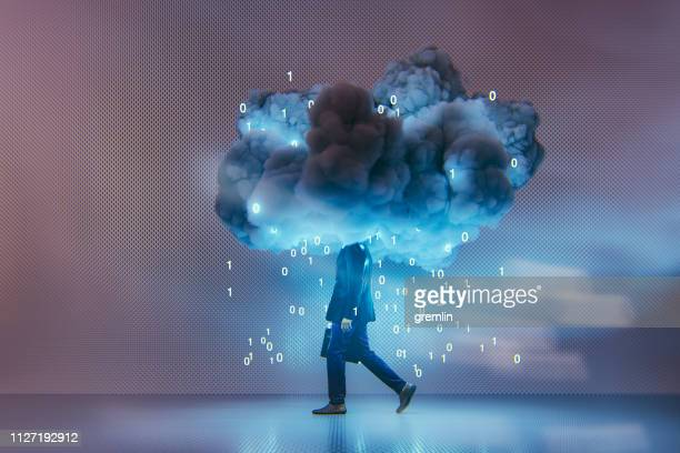 conceptual businessman cloud computing background - cloud computing stock photos and pictures