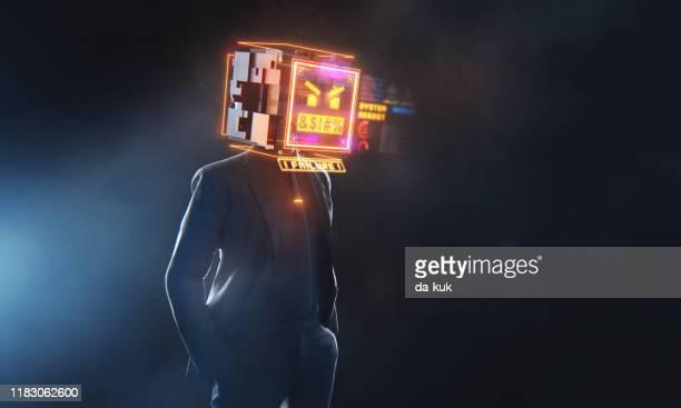 conceptuele zakenman met boze emoji expressie - foutmelding stockfoto's en -beelden