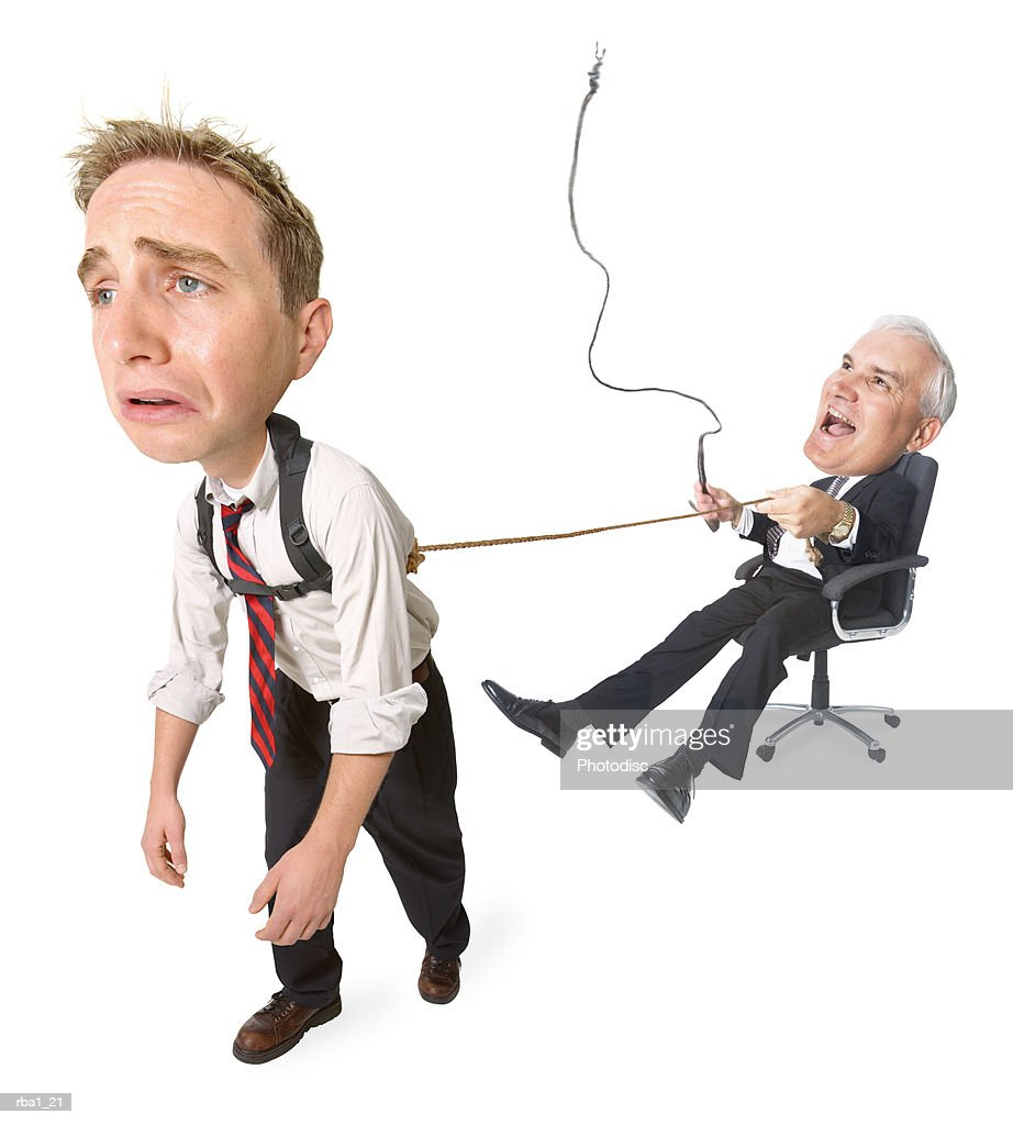 conceptual caricature of caucasian businessman in suit he whips employee pulling him around in chair : Stock Photo