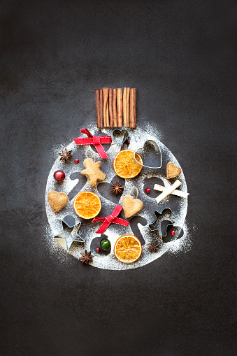 Conceptual Christmas ornament pattern form with food still life. - gettyimageskorea