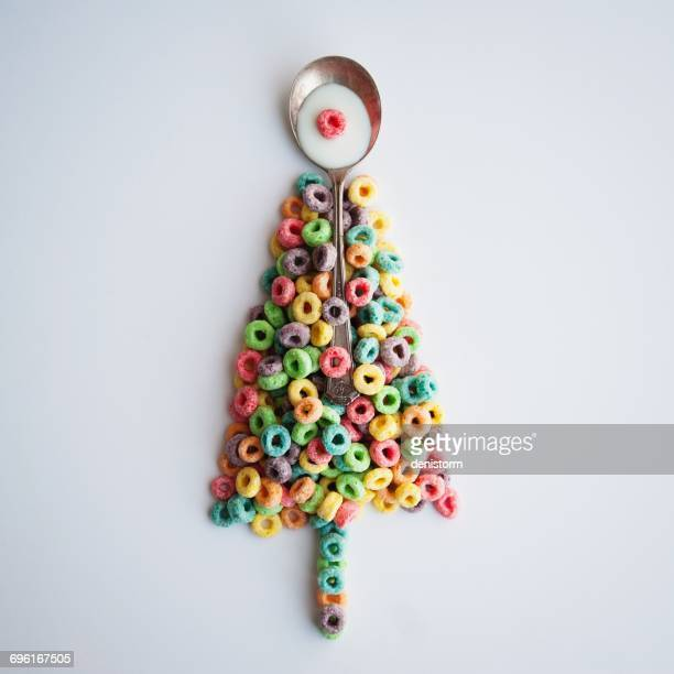 Conceptual Christmas tree made of breakfast cereal
