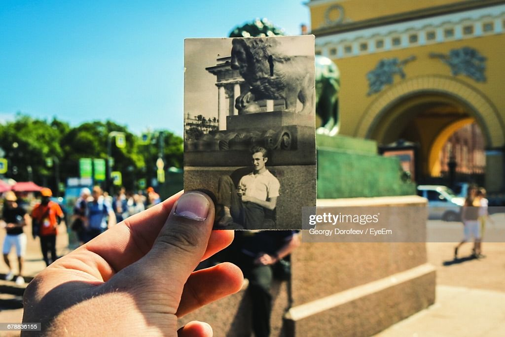 Conceptual Comparison With Old Photograph Outdoors : Stock Photo