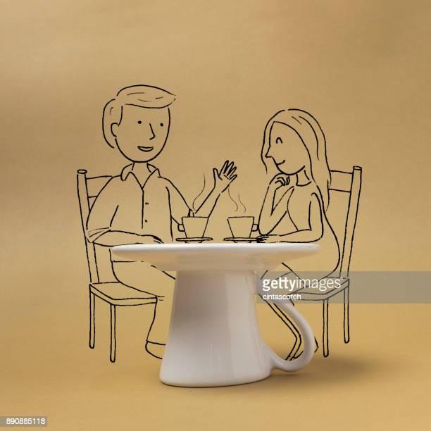 Conceptual couple drinking coffee