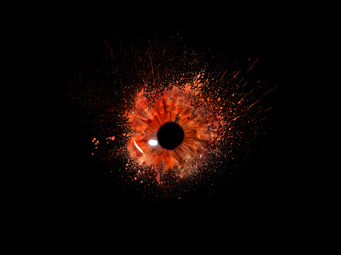 Conceptual creative photo of a female eye close-up in the form of splashes, explosion and dripping paint isolated on a black background. Female eye close-up with spray paint around. 1090593372