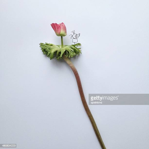 Conceptual fantasy character standing on flower