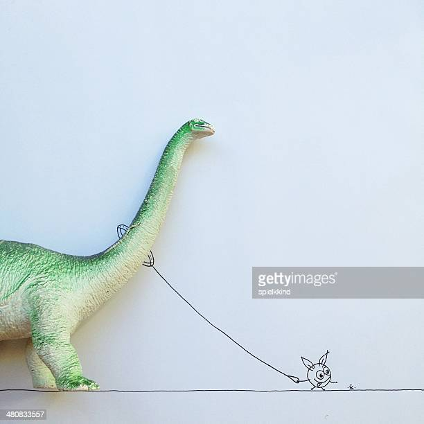 Conceptual fantasy character taking dinosaur for walk
