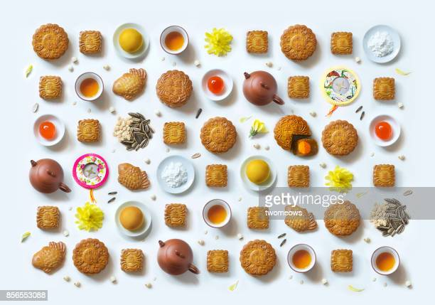 conceptual flat lay mid-autumn festival pattern still life. - moon cake stock pictures, royalty-free photos & images
