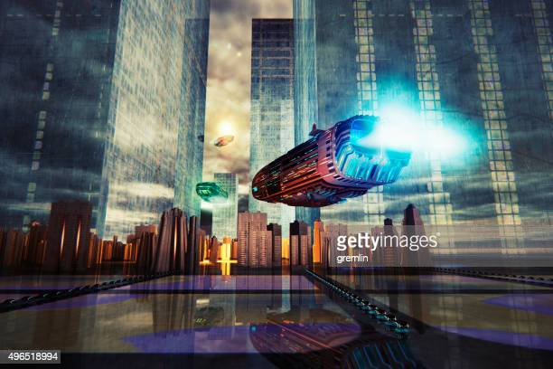 conceptual futuristic cityscape image - spaceship stock photos and pictures