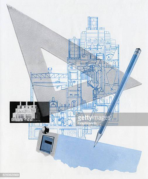 Conceptual illustration of the tools of an architect including drafting triangle blueprint and pencil screen print 1944