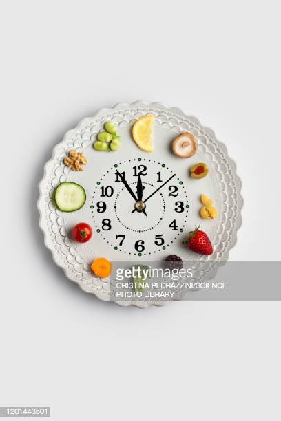 conceptual image of a food clock - lunch stock pictures, royalty-free photos & images