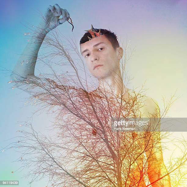 Conceptual image of a man changing into a tree, Republic of Ireland