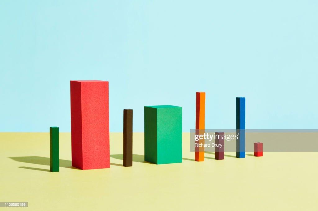 Conceptual image of geometric blocks : Stock Photo