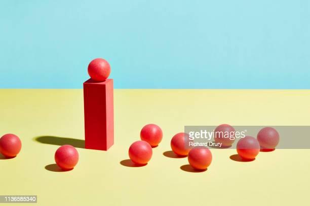 conceptual image of geometric blocks - 台座 ストックフォトと画像