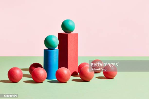 conceptual image of geometric blocks - pedestal stock pictures, royalty-free photos & images