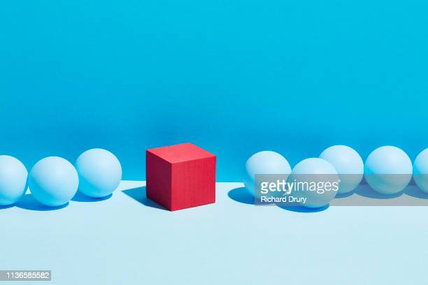 conceptual image of geometric blocks - shape stock pictures, royalty-free photos & images