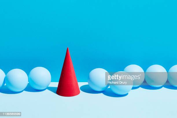 conceptual image of geometric blocks - cone shaped objects stock pictures, royalty-free photos & images