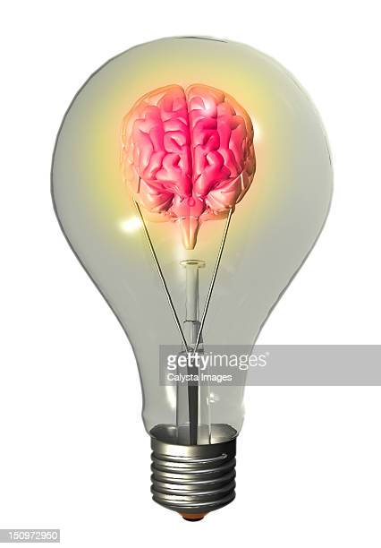 Conceptual image of light bulb containing human brain
