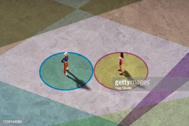 conceptual image of social distancing - questão social imagens e fotografias de stock