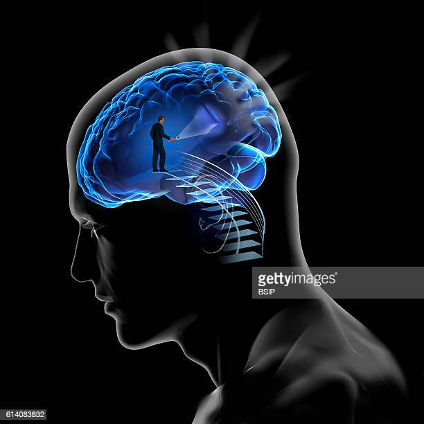Conceptual image of the brain Selfsearching thought memory