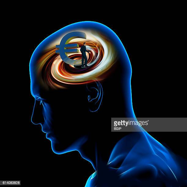 Conceptual image of the brain The power of money