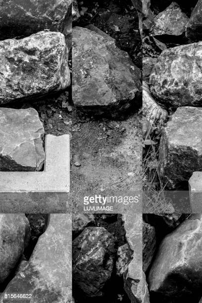 Conceptual image with rocks, straight lines and one concrete form.