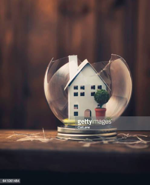 conceptual imagery portraying a broken home - home insurance stock pictures, royalty-free photos & images