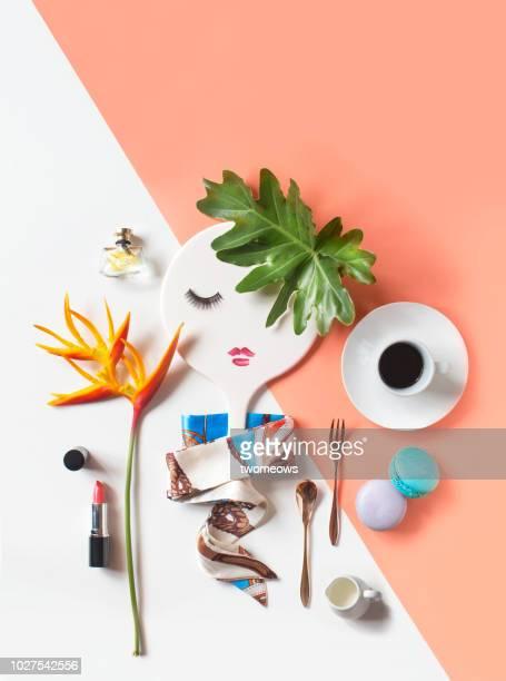 conceptual lifestyle retail still life. - feminidad fotografías e imágenes de stock
