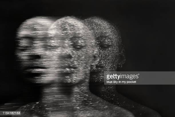 conceptual mindful black and white portraits - lsd stock pictures, royalty-free photos & images