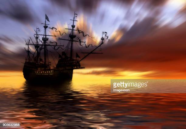 conceptual phantom ship out at sea - pirate ship stock photos and pictures
