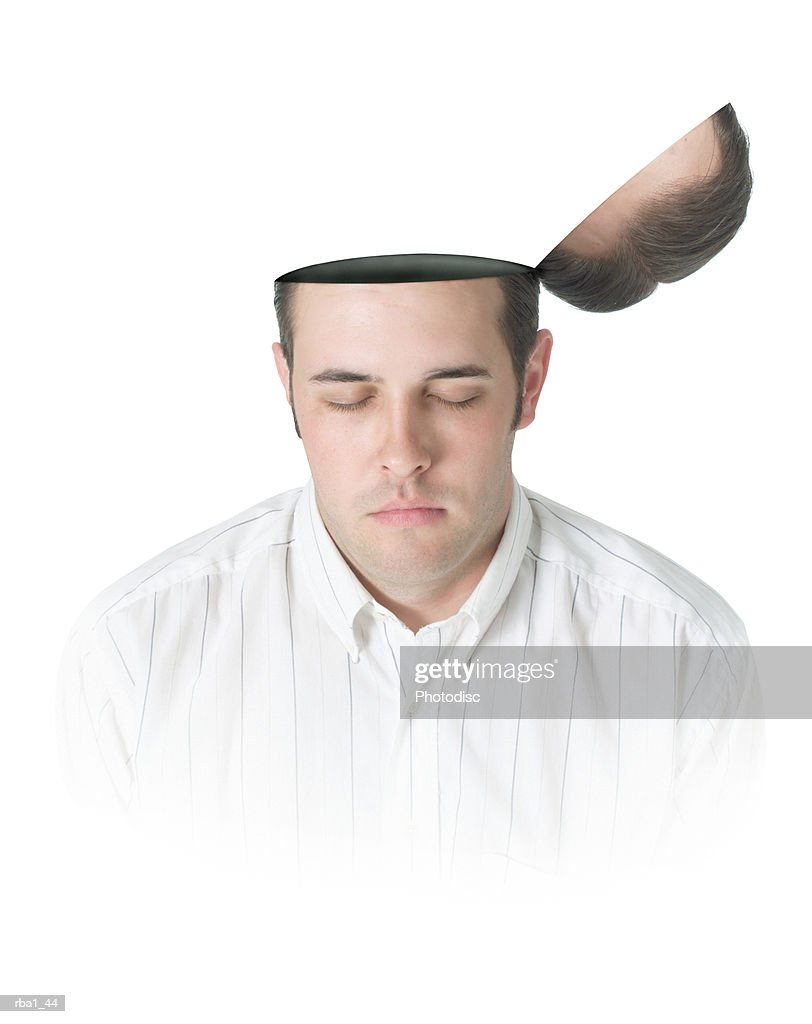 conceptual photo of a caucasian man with a flip top head as he closes his eyes and thinks : Stockfoto