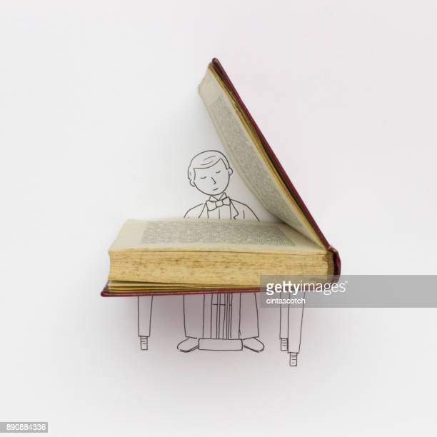 conceptual pianist - illustration stock pictures, royalty-free photos & images