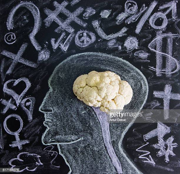 Conceptual picture merging a cauliflower representing a human brain in a blackboard draw with feelings symbols of the complicated human brain.