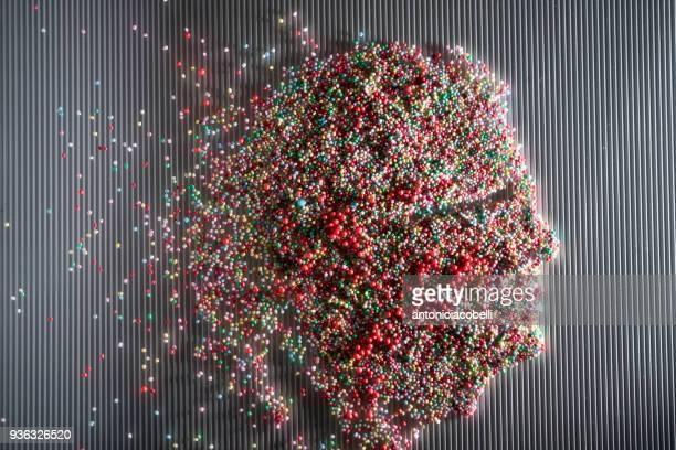 conceptual portrait of a face - viele gegenstände stock-fotos und bilder
