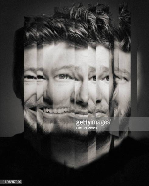 conceptual portrait of man, reflected in many mirrors, changing emotion from happy to sad - insanity stock pictures, royalty-free photos & images