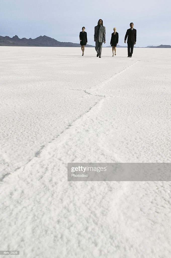 conceptual shot of four business coworkers as they walk together through a desert : Foto de stock