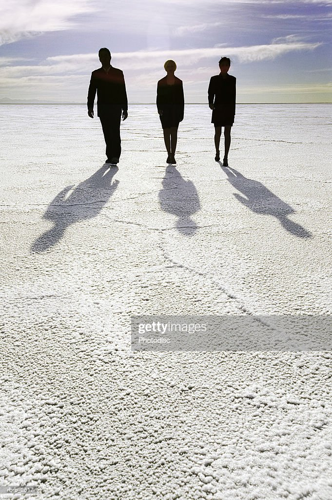 conceptual shot of three business people as they confidently walk through an open desert : Foto de stock