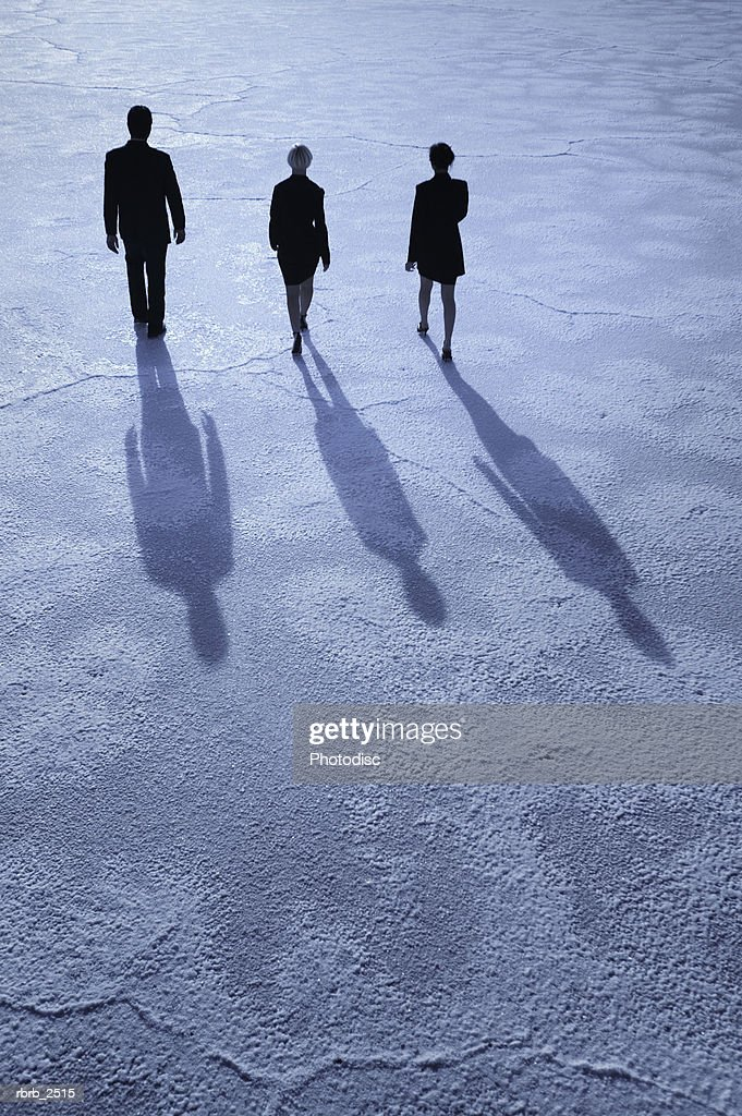 conceptual shot of three business people as they walk together through an open desert : Foto de stock