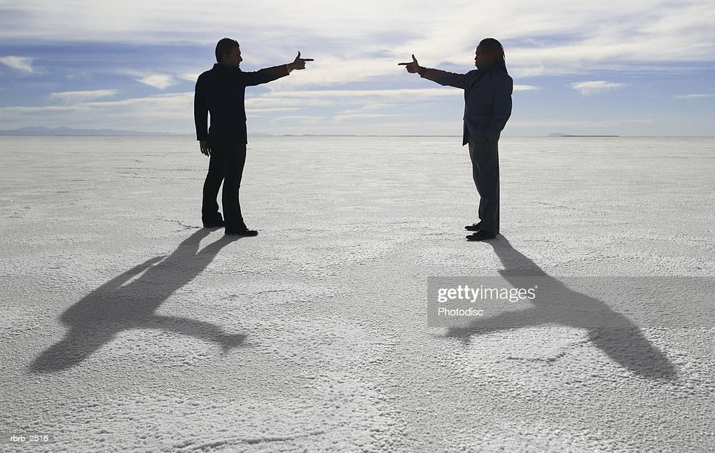 conceptual shot of two business people as they stand in an open desert and point at each other : Stockfoto