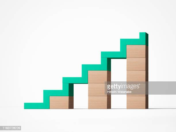 conceptual still life with low risk and rising - stability stock pictures, royalty-free photos & images