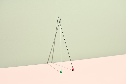 Conceptual still life with sticks and colored marbles - gettyimageskorea