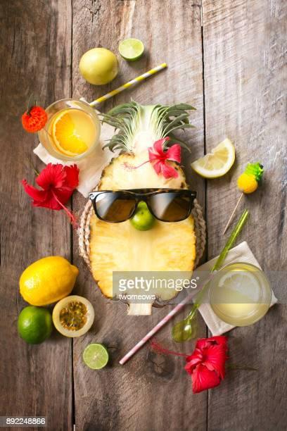 Conceptual summer tropical fruit juice still life.