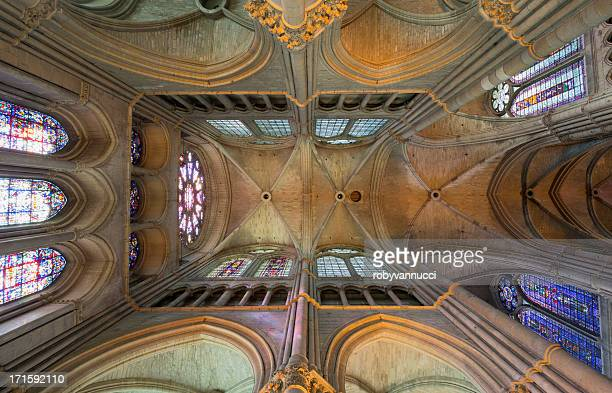 conceptual symmetry in reims notre-dame cathedral vault, france - reims cathedral stock pictures, royalty-free photos & images