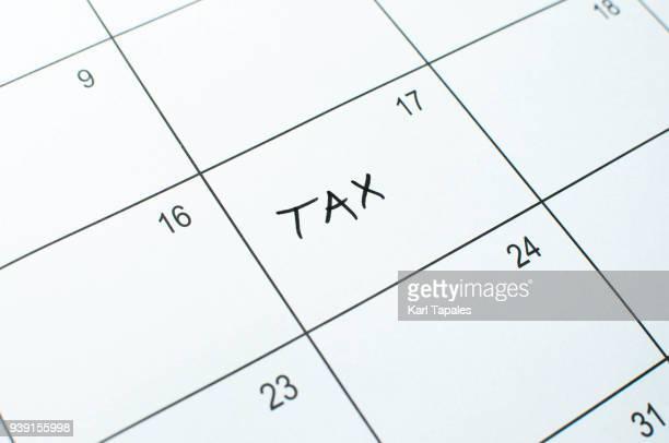 Conceptual tax calendar deadline