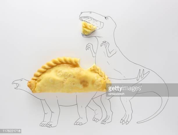 conceptual t-rex attacking a stegosaurus - empanada stock pictures, royalty-free photos & images