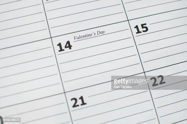 Conceptual valentines day calendar