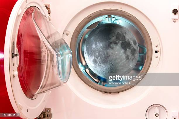 Conceptual view of moon through a porthole