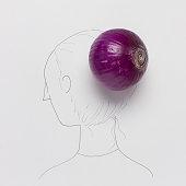 conceptual woman with hair bun