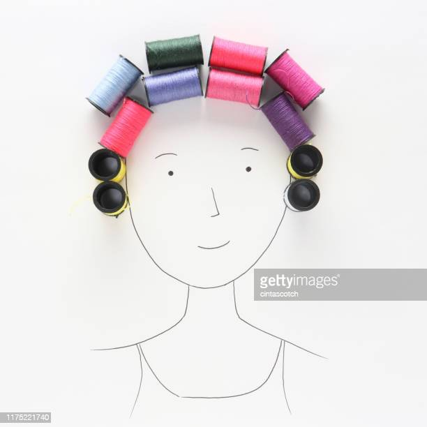 conceptual woman with curlers in her hair - mixed media stock pictures, royalty-free photos & images