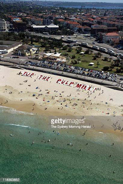 Concerned citizens protest against a proposed pulp mill in by timber producer Gunns in the Tamar Valley in northern Tasmania by constructing a larger...