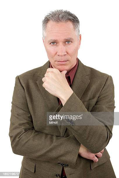 Concerned middle age man with green suit coat